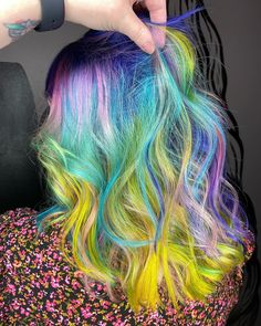 She IS the moment 🌈😍@hairbyashleybaker used Poseidon, Transylvania, Cosmic Sunshine, Neon Moon, Electric Paradise, Virgin Pink, Iris Green, Porange, and Aquamarine to create this gorgeous rainbow look! Pelo Multicolor, Arctic Fox Hair Color, Colored Hair Tips, Rainbow Hair, Free Hair, Hair Goals, Neon Moon, Dreadlocks, Hairstyle