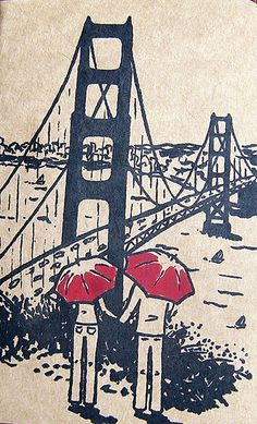 #SanFrancisco art illustration of couple with umbrellas overlooking the Golden Gate Bridge and San Francisco Bay