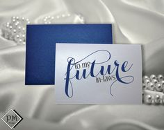 Mother in law gift father in law present brother sister in law card wedding gifts from bride and groom future in laws shimmering note cards