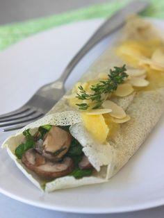 Mushroom-stuffed Gluten-free Crepes.
