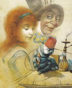 "He is always so happy . What is in his hookah pipe , or maybe it is the tea? Robert Ingpen""s Alice in Wonderland"