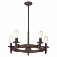 """Add an industrial-chic touch to your dining room or foyer with this rubberwood chandelier, showcasing vintage-inspired bulbs and a dark bronze finish.   Product: ChandelierConstruction Material: RubberwoodColor: Dark bronzeFeatures: Recycled materials Accommodates: (5) Bulbs -  not includedDimensions: 13"""" H x 26"""" W x 26"""" D"""