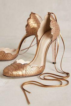 ♥️ Guilhermina dark rose gold snake print ankle wrap scalloped round toe d'orsay heels at Anthropologie