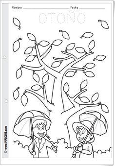 """Otoño"" (Fichas de pipoclub.com) Fall Preschool Activities, Preschool Printables, Preschool Learning, Kindergarten Worksheets, Worksheets For Kids, Fall Coloring Sheets, Coloring Pages, Classroom Crafts, Fall Crafts"