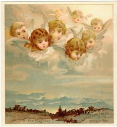 Angels in the Clouds Victorian Greeting Card