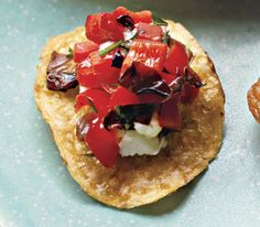 Red Pepper and Goat Cheese Crisps With Radicchio