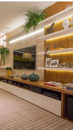 18 Chic and Modern TV Wall Mount Ideas for Living Room, tv wall ideas, Tv Wall Design, Design Case, Lcd Unit Design, Tv Design, Stand Design, Tv Wall Decor, Wall Tv, Shelf Wall, Shelf Desk