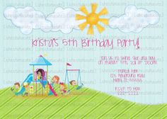 Park playground birthday invitation printable or printed with free items similar to playground party digital birthday invitation you print on etsy filmwisefo Gallery