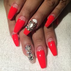 Loving this color! Bright red coffin nails