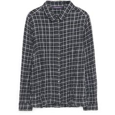 Violeta BY MANGO Check Cotton Blouse ($36) ❤ liked on Polyvore featuring tops, blouses, zack hammerstein, checkered top, cotton blouse, long sleeve tops, long sleeve cotton tops and checkered blouse