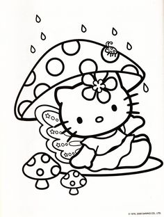 Hello Kitty Mushroom Coloring Sheet