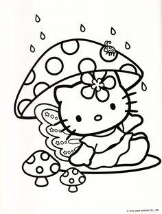 Hello Kitty mushroom coloring sheet!