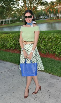 Ralph Lauren Off-the-Shoulder Cashmere Sweater and Straw and Leather Belt and Snakeskin Shoes, Vintage Polka Dot Skirt, Paco Rabanne Neckerchief, Innue Leather Bag, Burberry Sunglasses, and Anne Klein Porcelain and Diamond Watch. Getting ready for St. Patrick's Day with a spring outfit. http://www.akeytothearmoire.com/post/18603145597/on-the-dot