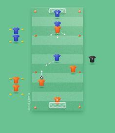 KNVB | 3+k tegen 2+k grote doelen, lang smal veld