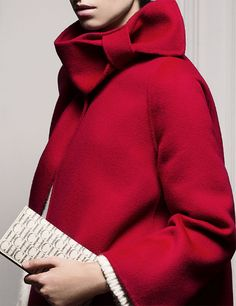 Wrapped in a bow: CH Carolina Herrera Red bow coat women fashion outfit clothing style apparel closet ideas Capes, Ch Carolina Herrera, Look At You, Casual Elegance, Blazer, Sewing Clothes, Wearing Black, Passion For Fashion, Style Me