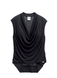 28bbe042a8b53 Black draped top with lace back. look gorgeous for your holiday party.  Mitchell s Modesto Harley Davidson