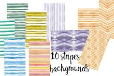 10 watercolor stripes backgrounds. Textures. $7.00