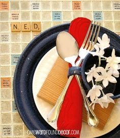 The summer table game boards as place mats, Upcycling, seasonal holiday decor, The Red White Blue Tan coloring on Scrabble boards are perfect for summer table settings And Scrabble letters can serve as place markers #upcycle #creative #reuse