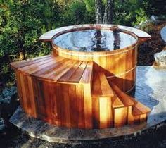 I like the look of a cedar hot tub.