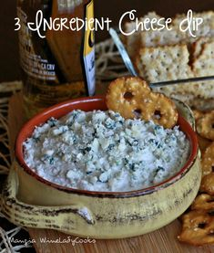 Three Ingredient Cheese Dip is a great appetizer, a snack for game day and movie night or you can quickly make this dip when unexpected guests arrive.