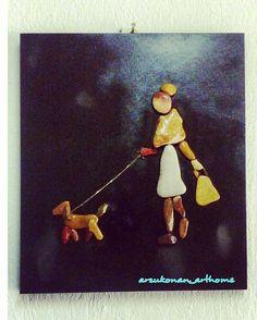 #taşsanatı #kadin #hayvanseverler #dost #pebbleart #sanat #tablo #homedecor #evdekorasyonu #arzukonan_arthome