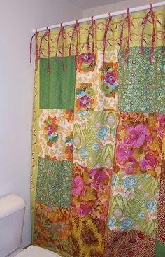Sewing Curtains using Quilt Blocks Quilt Block Pick Up} - Patchwork Posse Patchwork Curtains, No Sew Curtains, Rod Pocket Curtains, Shower Curtains, Boho Curtains, Curtain Ties, Curtain Fabric, Gypsy Decor, Boho Decor