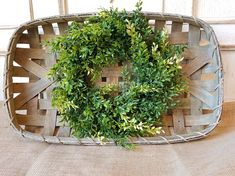 This tobacco basket arrangement is beautiful. This beautiful tobacco basket arrangement will make a great statement on the wall or on a coffee/dining table. Perfect for your farmhouse decor, shabby chic home, rustic primitive home accent, the possibilities are endless. A great way to
