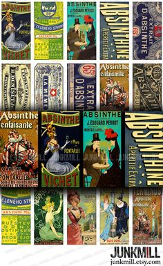 """ABSINTHE - Digital Printable Collage Sheet - French Victorian Absinthe Labels & Advertisements, Vintage Green Fairy, Domino Tile 1"""" x 2"""""""