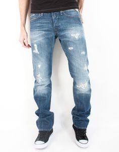 Men s Replay Jeans Waitom Regular Slim Mens New Authentic Heavily Distressed