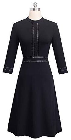HOMEYEE Womens Vintage Crew Neck 3//4 Sleeve Patchwork Cocktail Aline Dress A135