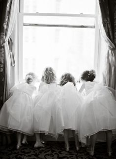 Capture the flower girls looking down at the bride and groom walking outside (or just pose it, of course) but if it's available. then shoot the bride and groom from the window. Flower Girls, Flower Girl Dresses, Flower Children, Tutu Dresses, Pageant Dresses, Party Dresses, Wedding Dresses, Wedding Bells, Our Wedding