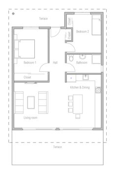 Small House Plans with Two Bedroom and Terrace on Small Budget 2014