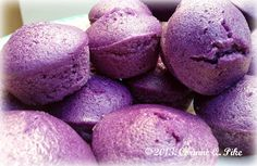 Steamed Rice Cakes-1 cup rice flour 1/2 cup cake flour 3 teaspoons double acting baking powder 1/2 cup sugar 1/4 teaspoon salt 1/2 cup coconut milk 1/2 cup + 2T evaporated milk 100 grams grated ube 1/2 teaspoon McCormick ube flavour 2 tablespoons melted unsalted butter pinch of violet food powder (if desired), no more than 1/8 tsp.