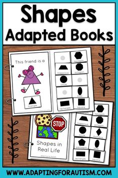 Shapes Adapted Books for Special Education and Autism Life Skills Classroom, Autism Classroom, Classroom Ideas, Physical Adaptations, Special Education Math, File Folder Activities, Work Stations, Autism Resources, Math Centers