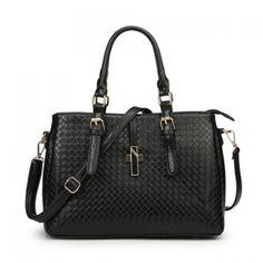 Fashion PU Leather and Weaving Design Women's Shoulder Bag