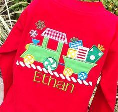 Cute Boys Christmas Train, #PersonalizedboysChristmasshirts, #kidsclothing