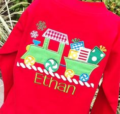 Boys Personalized Christmas  Train on Long Sleeves by lilshabebe, $23.95