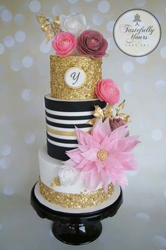 Wafer Wonderland - Cake by Marianne Bartuccelli : Tastefully Yours Cake Art… Gorgeous Cakes, Pretty Cakes, Fondant Cakes, Cupcake Cakes, Kate Spade Cake, Sequin Cake, Wafer Paper Flowers, Gold Cake, Just Cakes