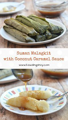 Suman Malagkit with Coconut Caramel Sauce are Filipino rice cakes wrapped and cooked in banana leaves and drizzled with rich, creamy coconut caramel sauce. Gluten-free