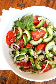 Recipe Girl®Tomato, Cucumber and Basil Salad - Recipe Girl Tomato Basil Salad, Tomato Salad Recipes, Healthy Salad Recipes, Veggie Recipes, Diet Recipes, Cooking Recipes, Cucumber Salad, Cucumber Cleanse, Tomato Recipe