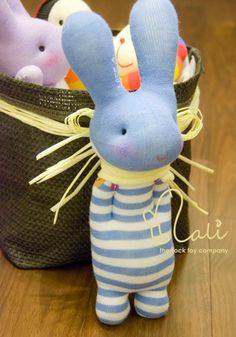 "Items similar to Mali Sock Doll, Sock Rabbit, Sky Blue White Stripes Newborn Safe Sock Bunny, ""Baby Blue"" on Etsy Sock Dolls, Doll Toys, Baby Dolls, Sock Bunny, Bunny Toys, Stuffed Animal Patterns, Diy Stuffed Animals, Sock Crafts, How To Make Toys"