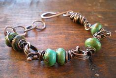 Hammered Copper Link Turquoise Bracelet by BalsamrootRanch.com $89.00