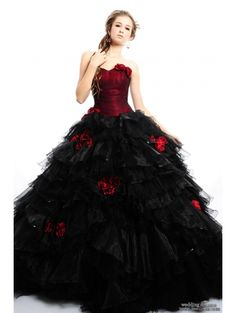 Red and Black Rose Accents Gothic Wedding Dress