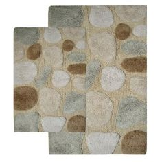#5: Chesapeake 2-Piece Pebbles 21-Inch by 34-Inch and 24-Inch by 40-Inch Bath Rug Set, Spa