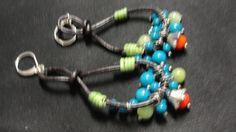 Bohemian Cord Red Green and Blue Dangle Pierced Earrings #DropDangle