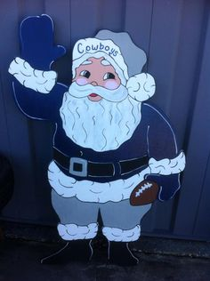 Christmas Cowboy / Football Santa Holiday Wooden Yard Art Personalized Any…