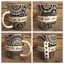 Decorated coffee mugs take a sharpie and then write on it
