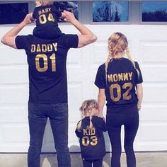 Family-Matching-Outfits-DADDY-MOMMY-KID-BABY-Shirt-T-shirt-Couple-Clothes-WW