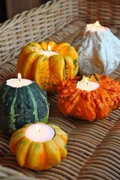 Gourd Votive Holders #inspiration #thanksgiving #tablescape #bbjlinen #bbjtablefashions