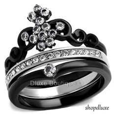 WOMEN/'S ROUND CUT CZ BLACK STAINLESS STEEL ETERNITY FASHION RING BAND SIZE 5-10